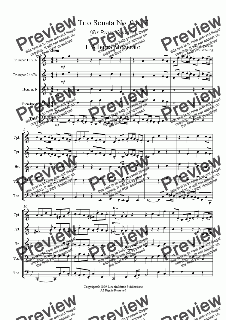 page one of Purcell - Trio Sonata No.9 in F (for Brass Quintet)