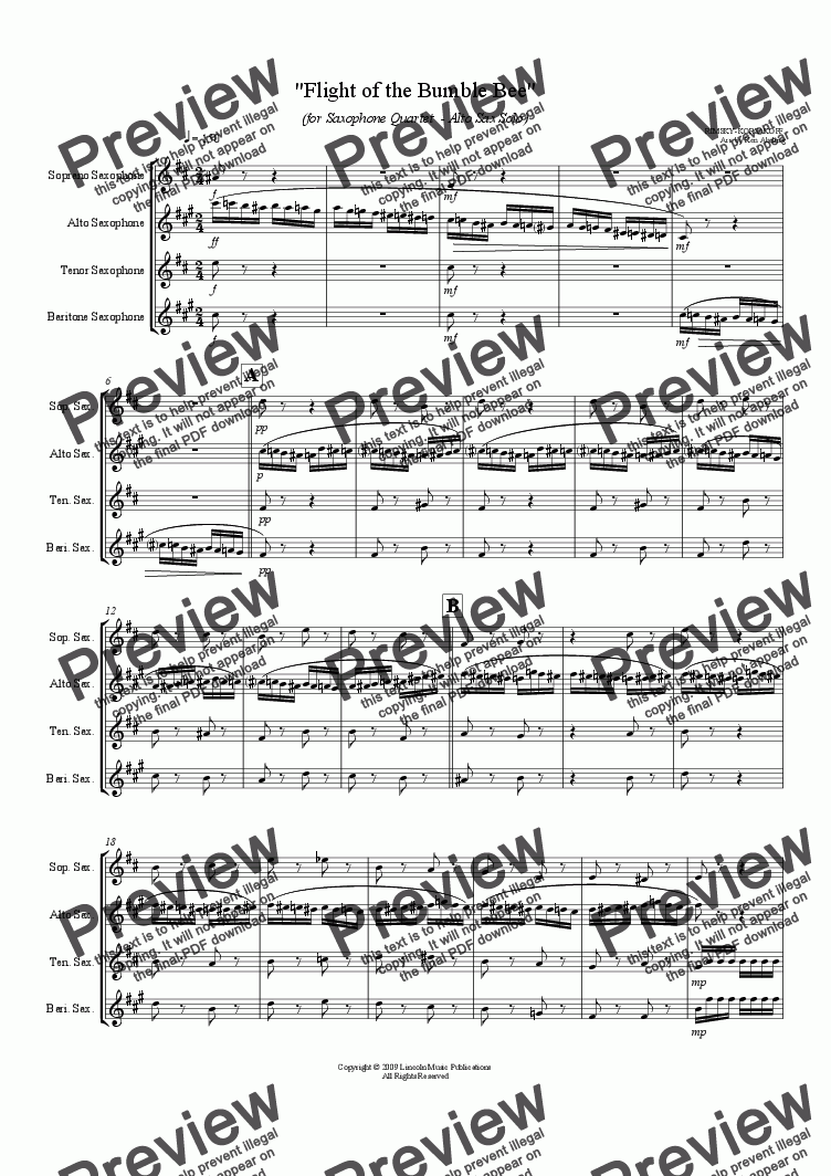 page one of Rimsky-Korsakoff  - Flight of the Bumble Bee (Sax Quartet / Alto solo)ASALTTEXT
