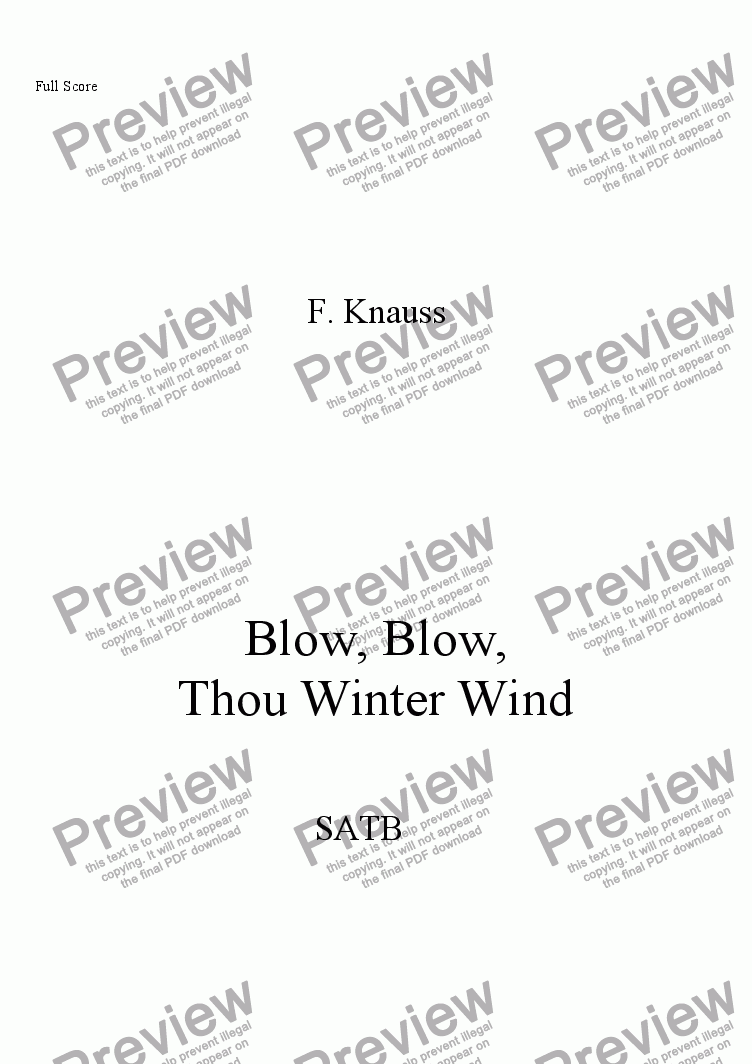 page one of Blow, Blow, Thou Winter Wind (SATB, piano)