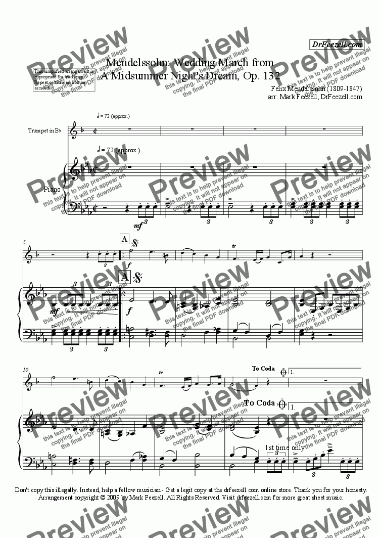 page one of Wedding March for trumpet and piano