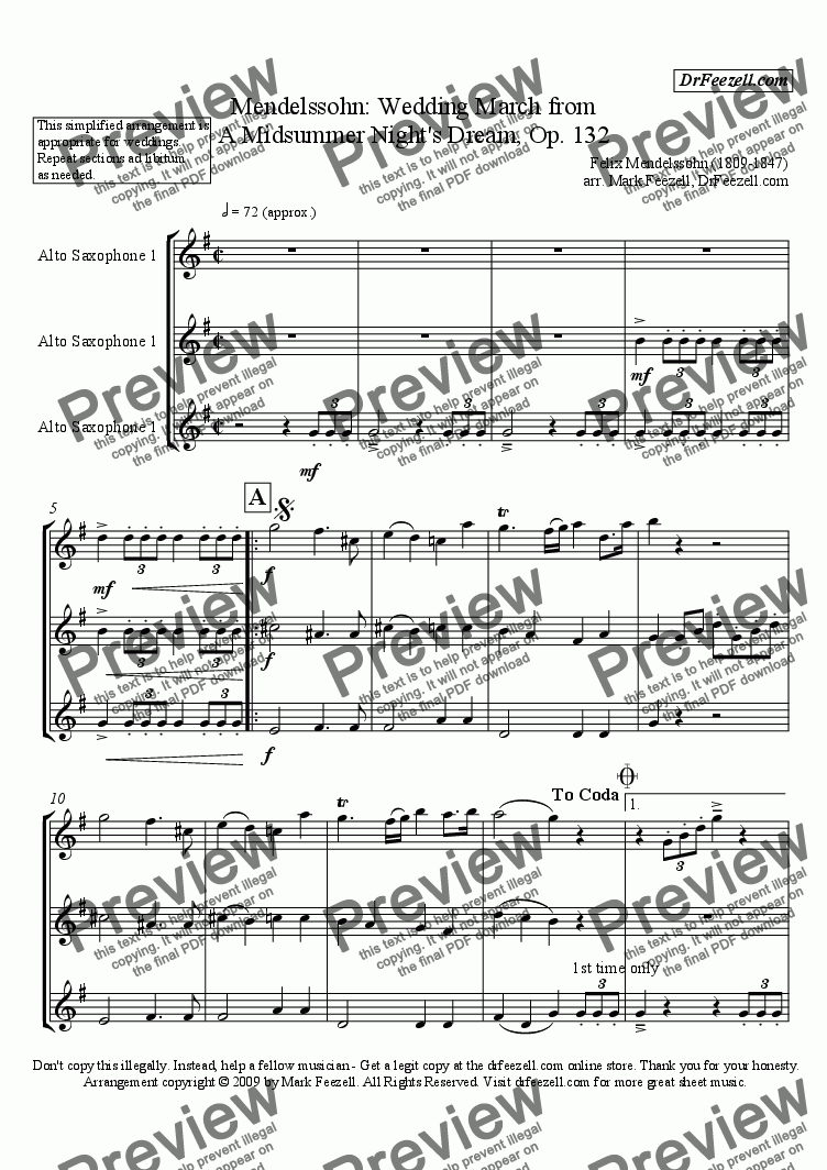 page one of Wedding March for saxophone trioASALTTEXT