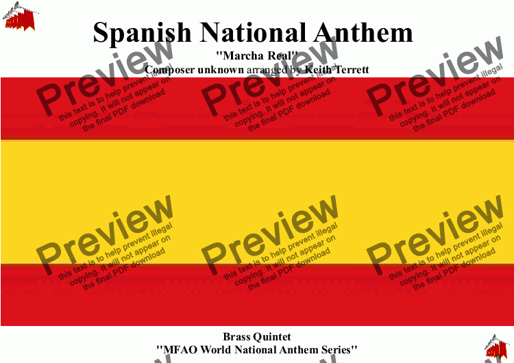 page one of Spanish National Anthem (Marcha Real) for Brass Quintet (MFAO World National Anthem Series)
