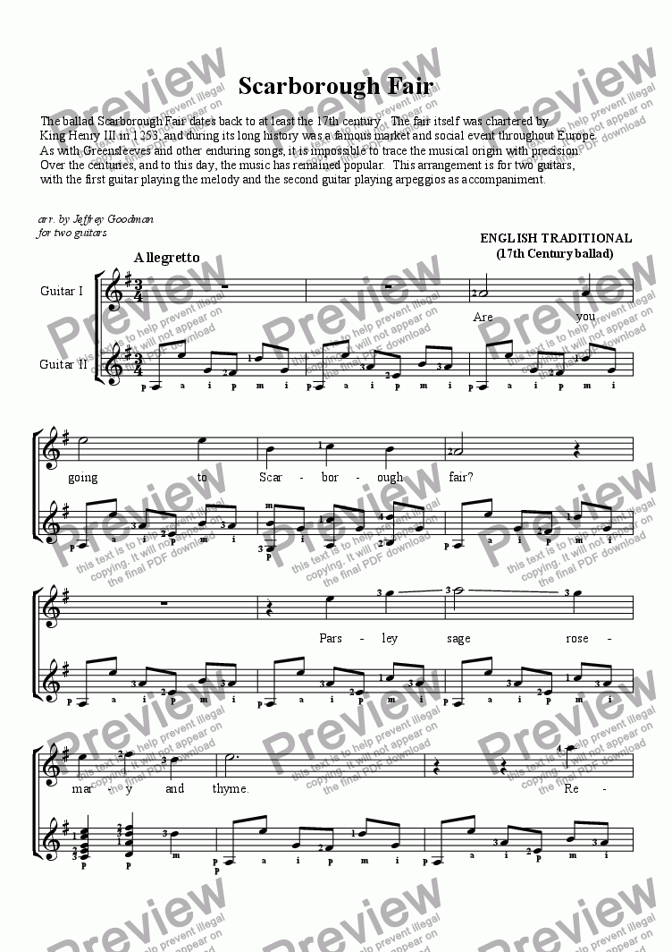 page one of Scarborough Fair - for two guitars