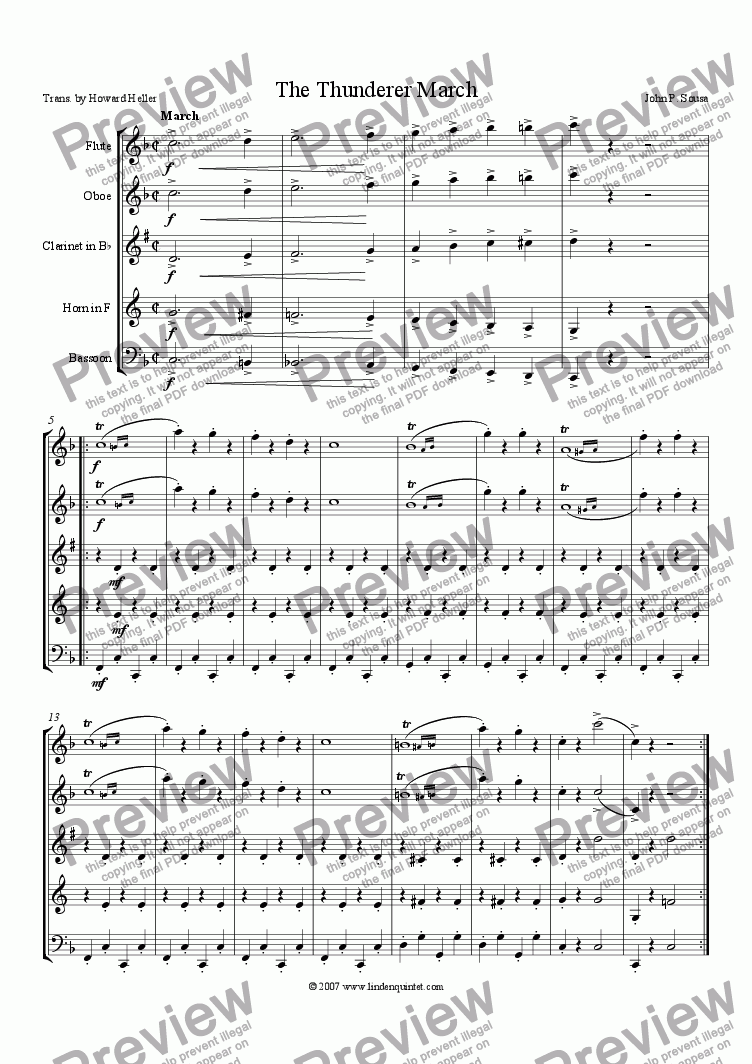 page one of Sousa - The Thunderer March