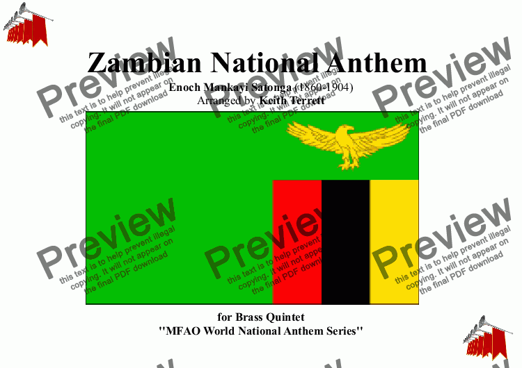 page one of Zambian National Anthem for Brass Quintet (MFAO World National Anthem Series)
