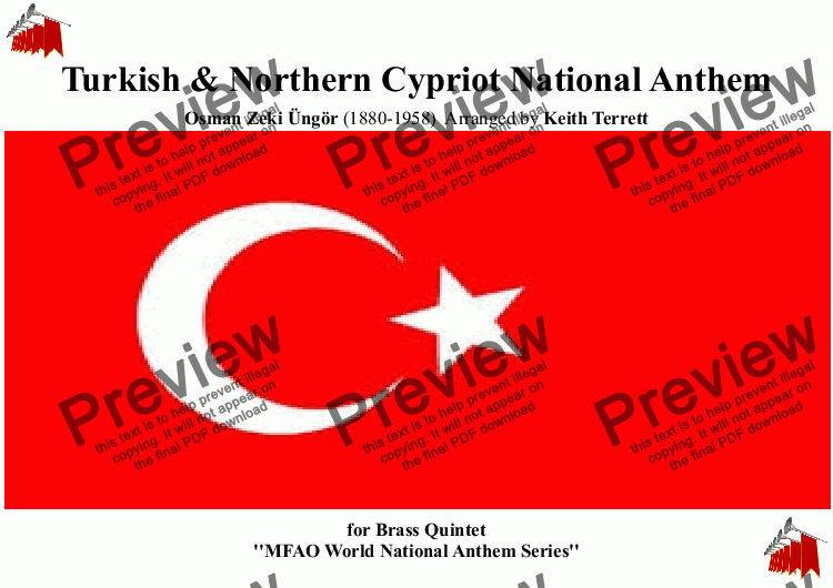 page one of Turkish & Northern Cypriot National Anthem for Brass Quintet (MFAO World National Anthem Series)