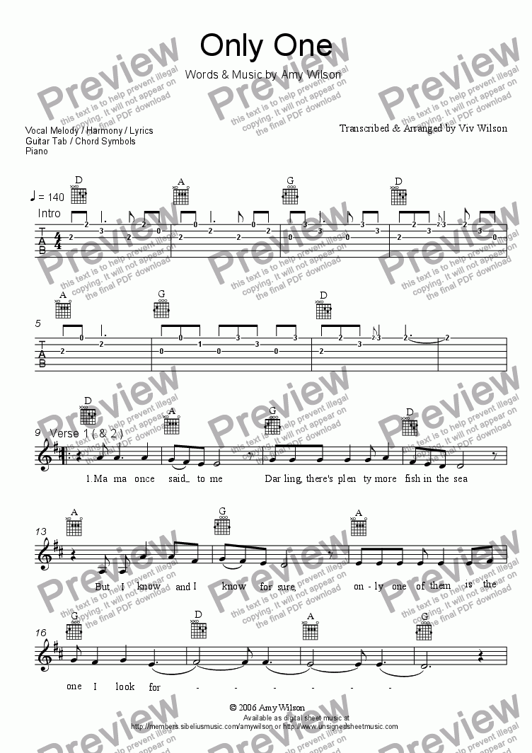 page one of ONLY ONE Vocal Melody/Harmonies, Guitar Tab & Chord Diags, Piano.