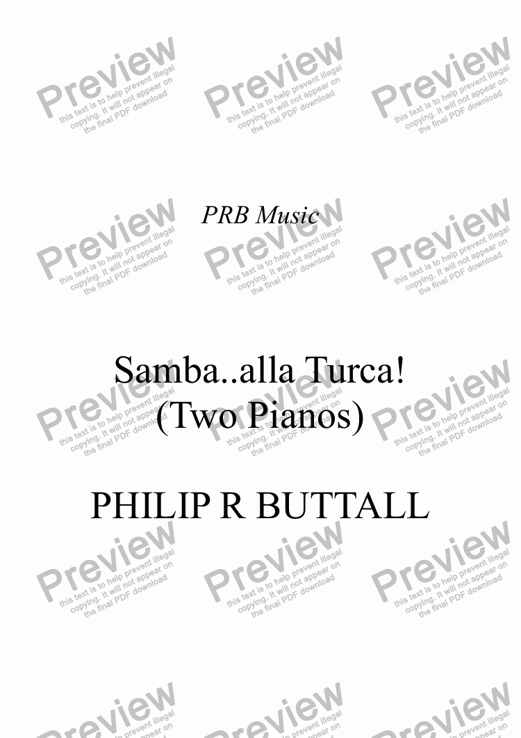 page one of Samba..alla Turca! (Two Pianos)ASALTTEXT