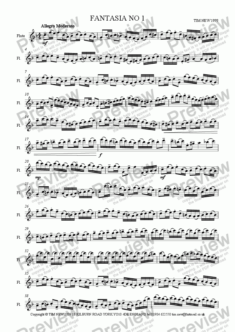 page one of FANTASIA NO 1 for solo flute