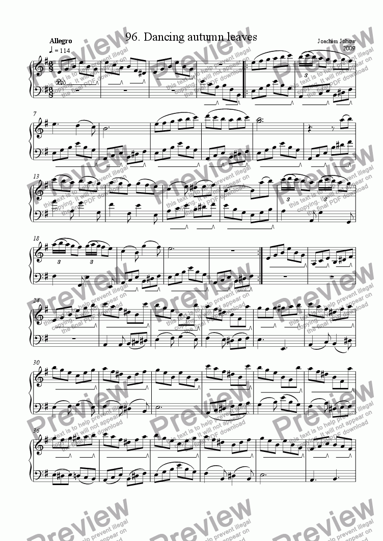 page one of Piano Book 096 (Dancing autumn leaves)