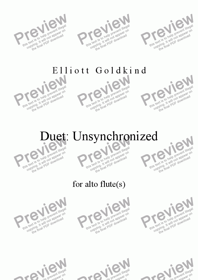 page one of Duet: Unsynchronized for Flute(s)