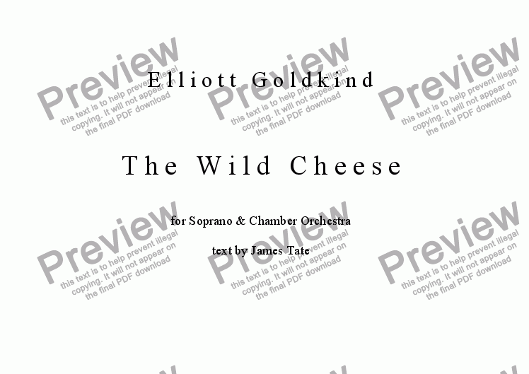 page one of The Wild Cheese (for soprano and chamber orchestra)
