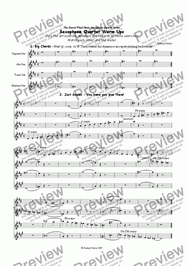 page one of Saxophone Quartet Warm-Ups