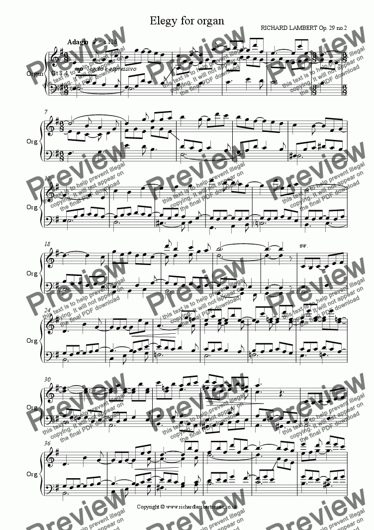 page one of Elegy for Organ
