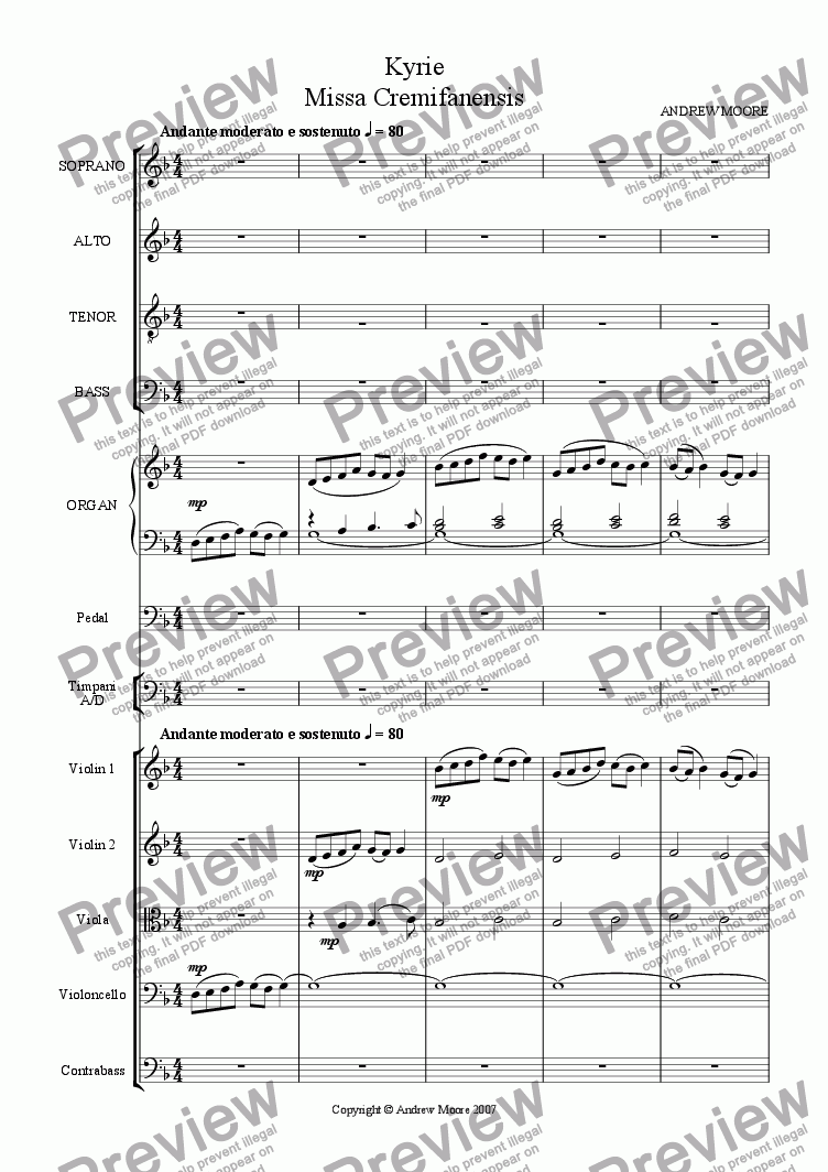 page one of 'Missa Cremifanensis' - Kyrie  for SATB, Organ, Timpani and Strings