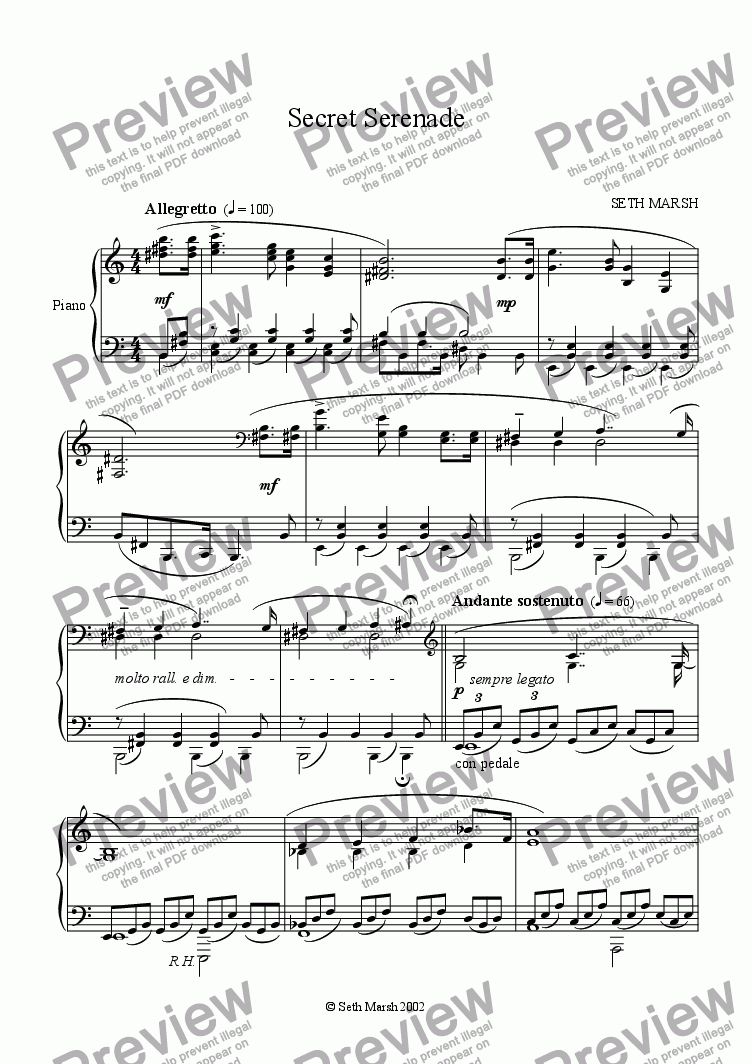 page one of Secret Serenade (piano version)ASALTTEXT