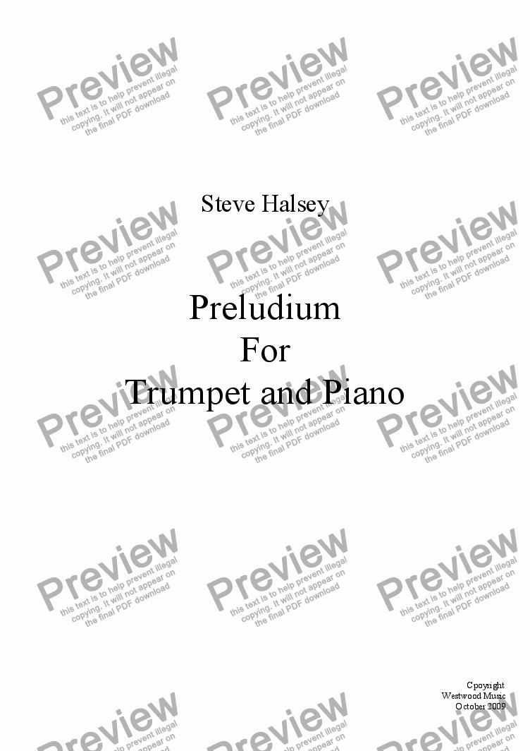 page one of Preludium For Trumpet and Piano