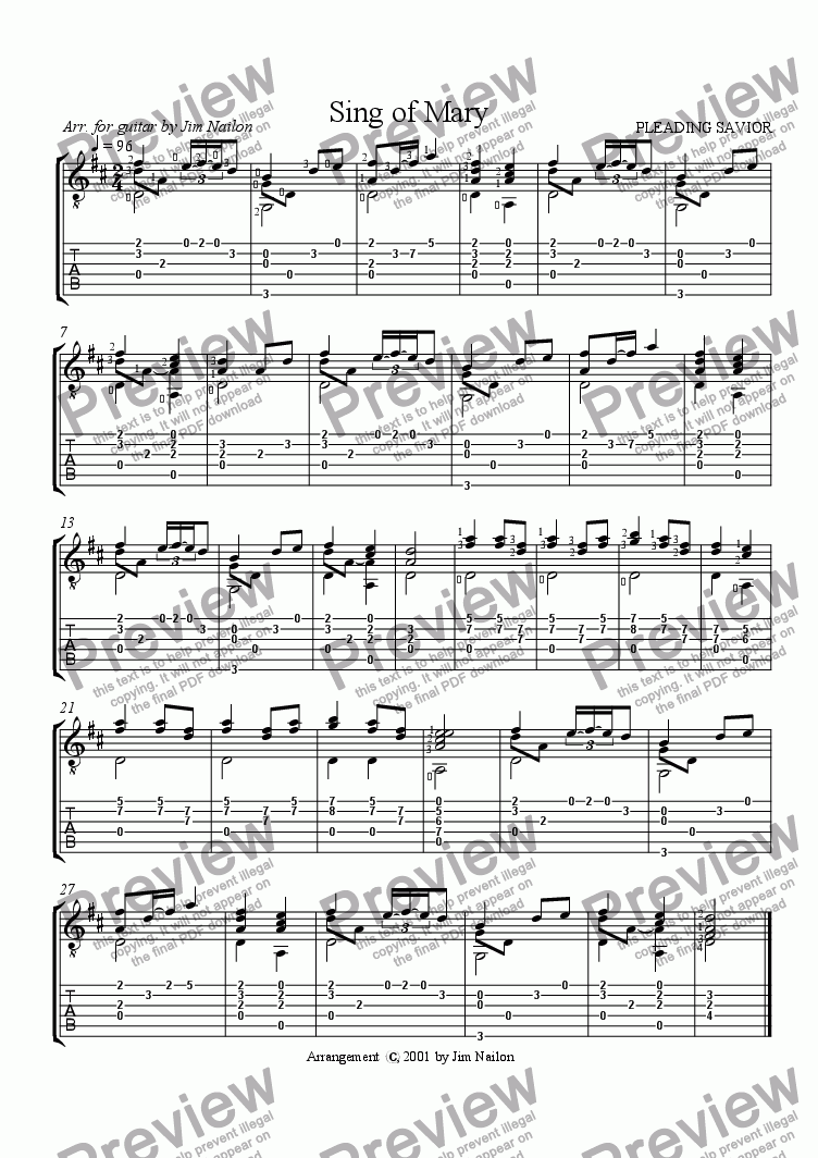 page one of Liturgical Guitarist: Sing of Mary (PLEADING SAVIOR)
