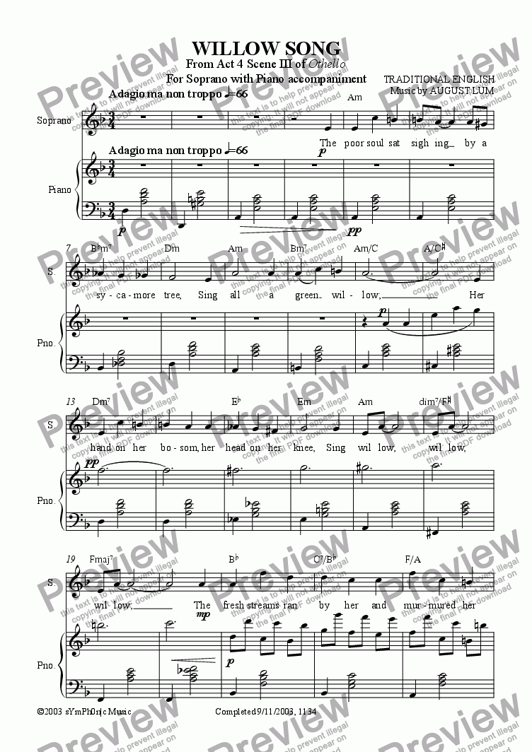 page one of WILLOW SONG