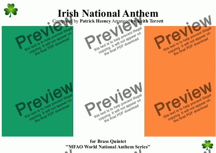 page one of Irish National Anthem for Brass Quintet (MFAO World National Antthem Series)
