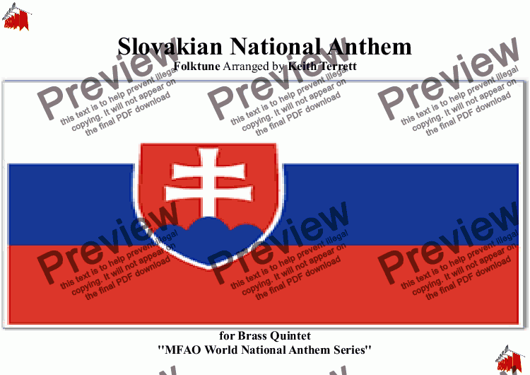page one of Slovakian National Anthem for Brass Quintet (MFAO World National Anthem Series)