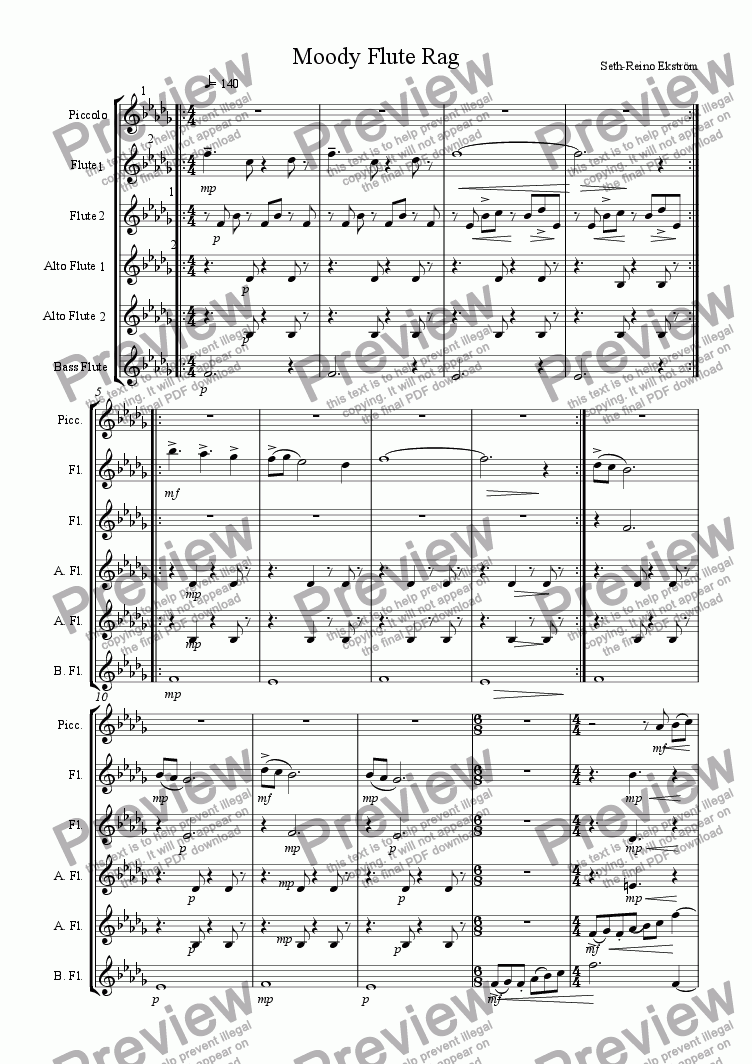 page one of Moody Flute Rag