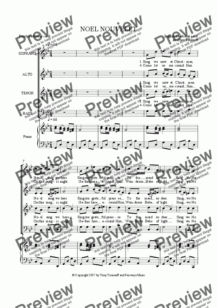 Sing We Now Of Christmas.Noel Nouvelet Sing We Now Of Christmas Satb For Choir Keyboard By Trad Sheet Music Pdf File To Download