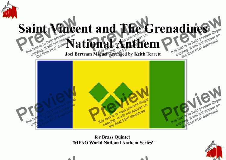 page one of Saint Vincent & The Grenadinnes (Vincentian) National Anthem for Brass Quintet (MFAO World National Anthem Series)