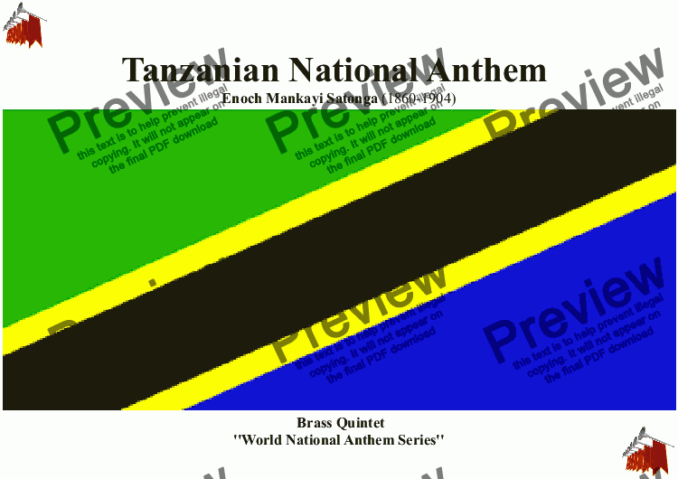 page one of Tanzanian National Anthem for Brass Quintet (MFAO World National Anthem Series)