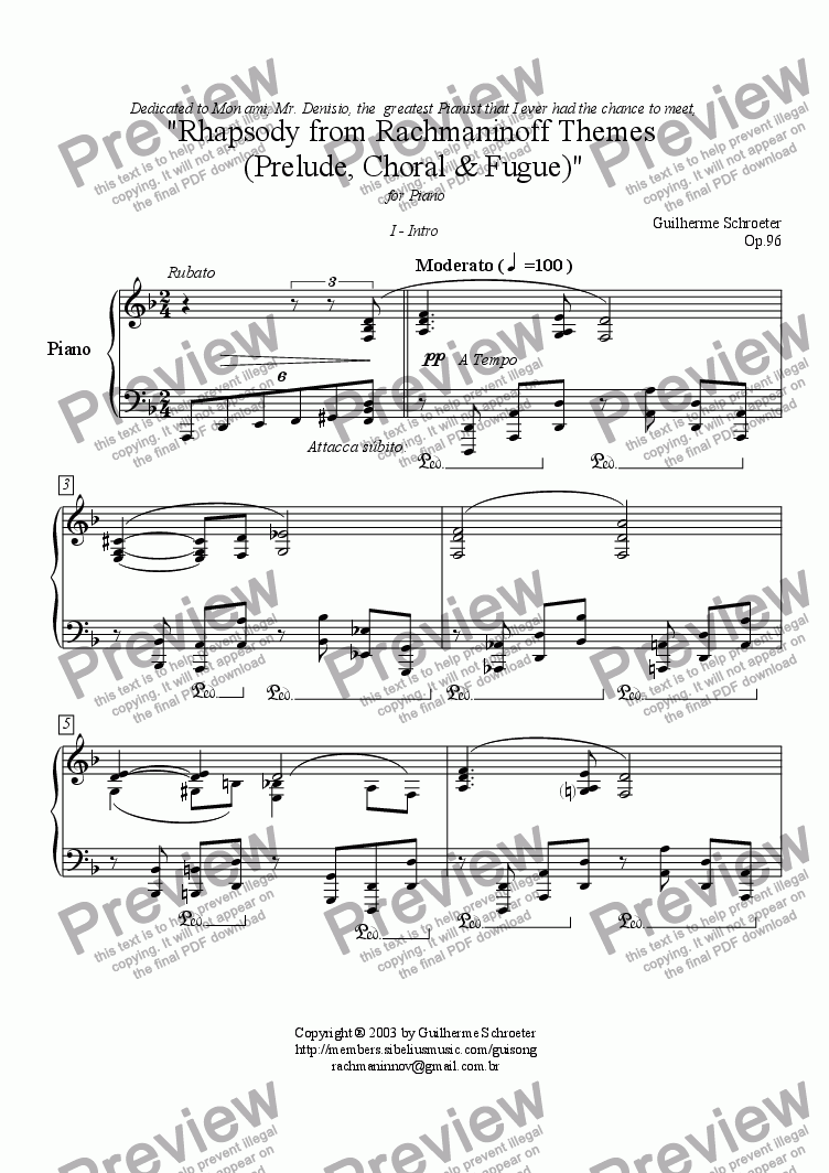 page one of Op.096 - Rhapsody based in two Rachmaninov themes (D minor)