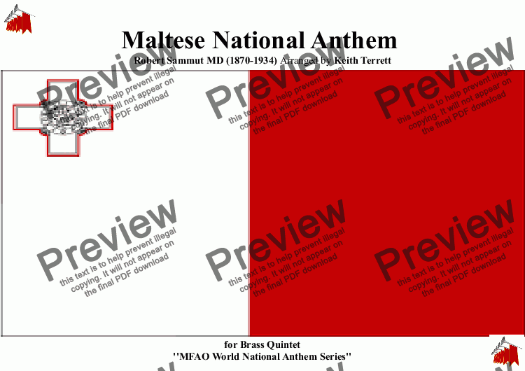 page one of Maltese National Anthem for Brass Quintet (MFAO World National Anthem Series)