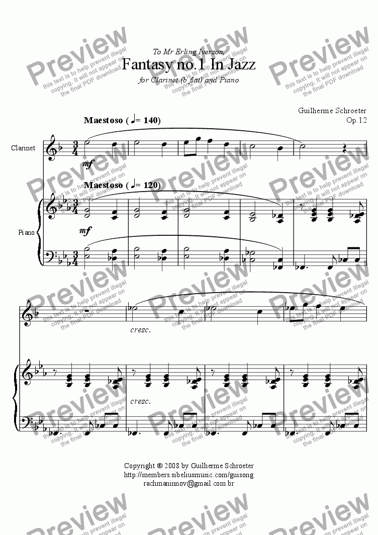 page one of Op.012 - Fantasy for Clarinet and Piano No.1 (Eb Major)ASALTTEXT