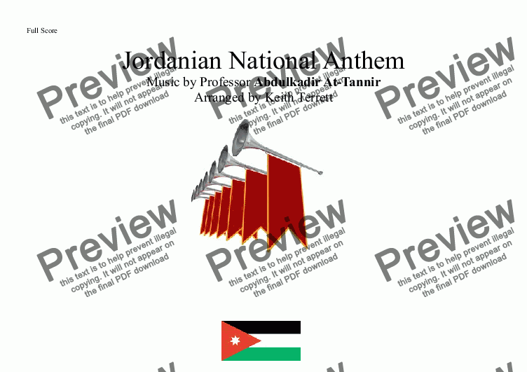 page one of Jordanian National Anthem for Brass Quintet (World National Anthem Series)