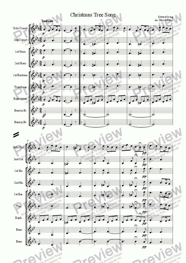 page one of Christmas Tree Song [Grieg]