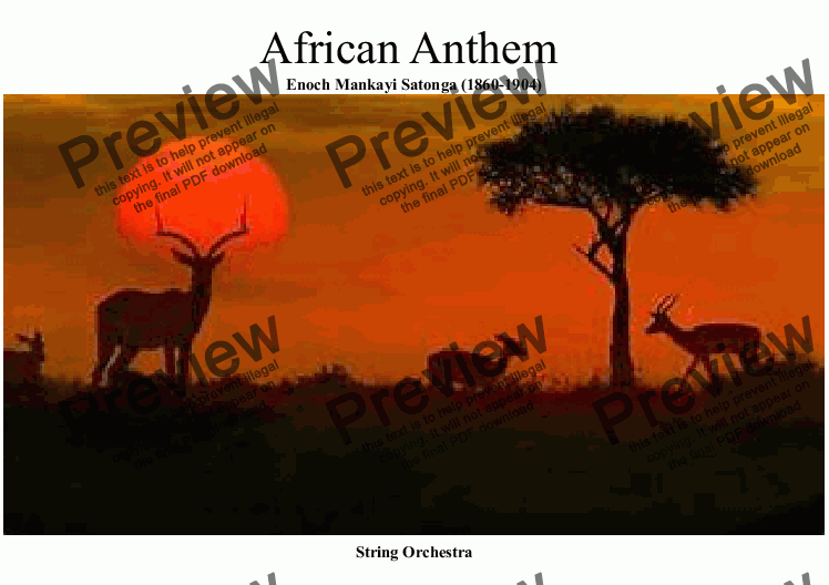 page one of African National Anthem for String Orchestra