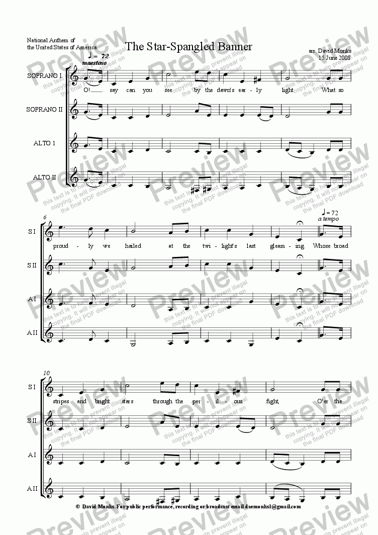 Star Spangled Banner - American National Anthem - SSAA for Choir by John  Stafford Smith - Sheet Music PDF file to download