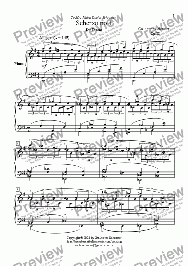 page one of Op.088 - Scherzo no.1 for Piano (E minor)