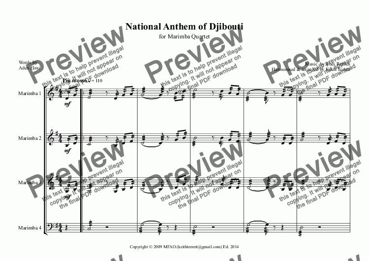 page one of Djiboutian National Anthem for Marimba Quartet