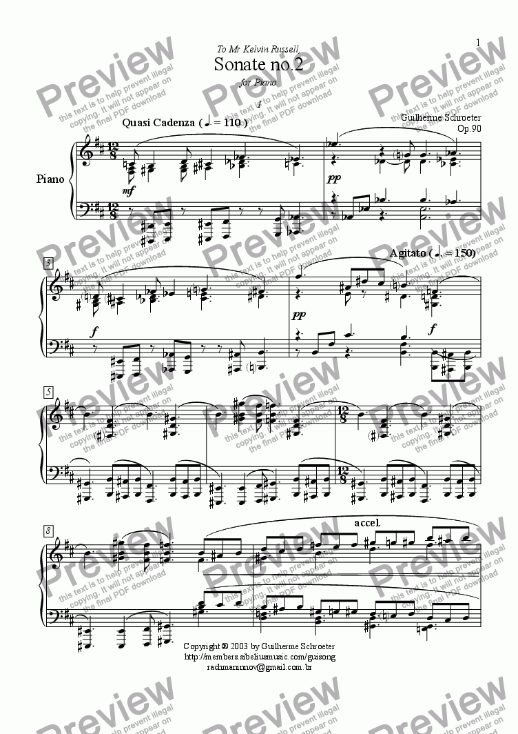 page one of Op.090 - Sonata for Piano No.2 (D Major)