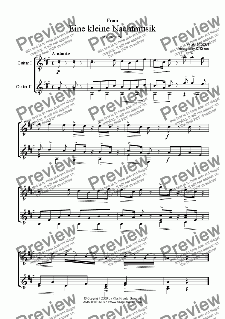 page one of Romance from Eine kleine Nachtmusik for guitar duet