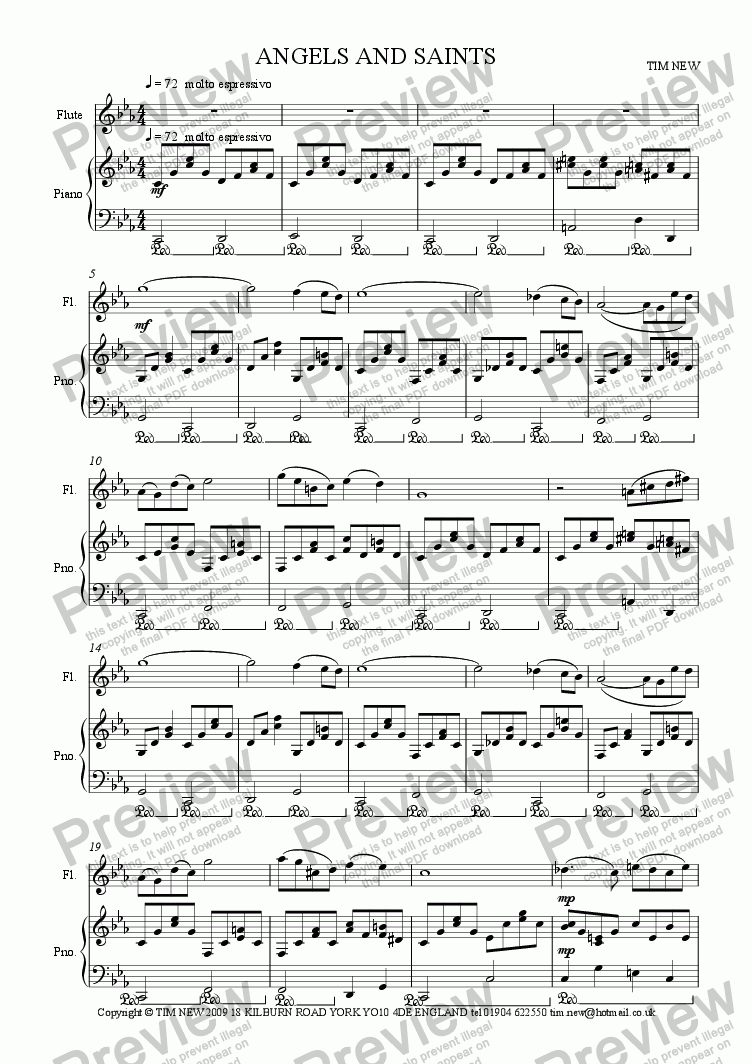 page one of ANGELS AND SAINTS for flute and piano