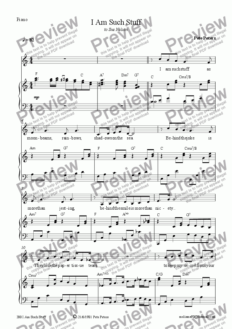 page one of I Am Such Stuff [vocal]