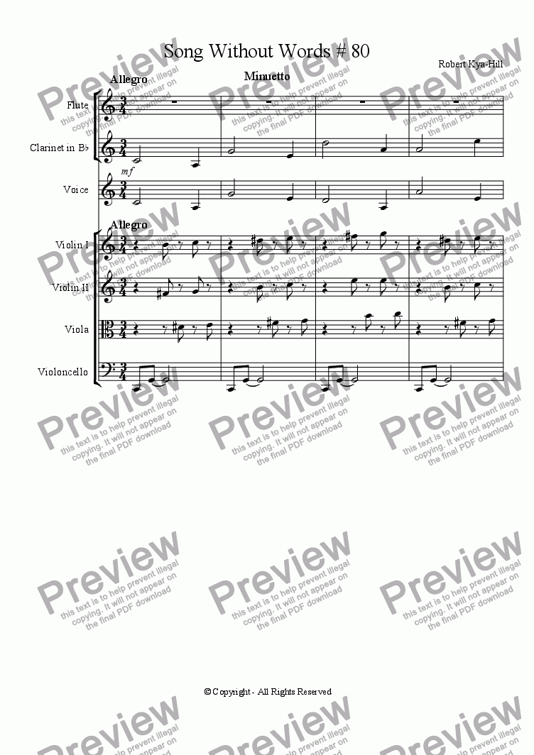 page one of Song Without Words [Cycle Three  # 80] [String Quartet, Flute, Clarinet in B-Flat]