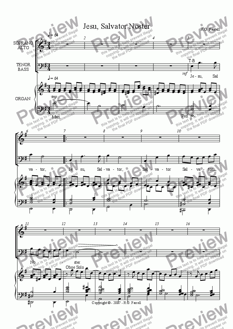 page one of Jesu, Salvator Noster