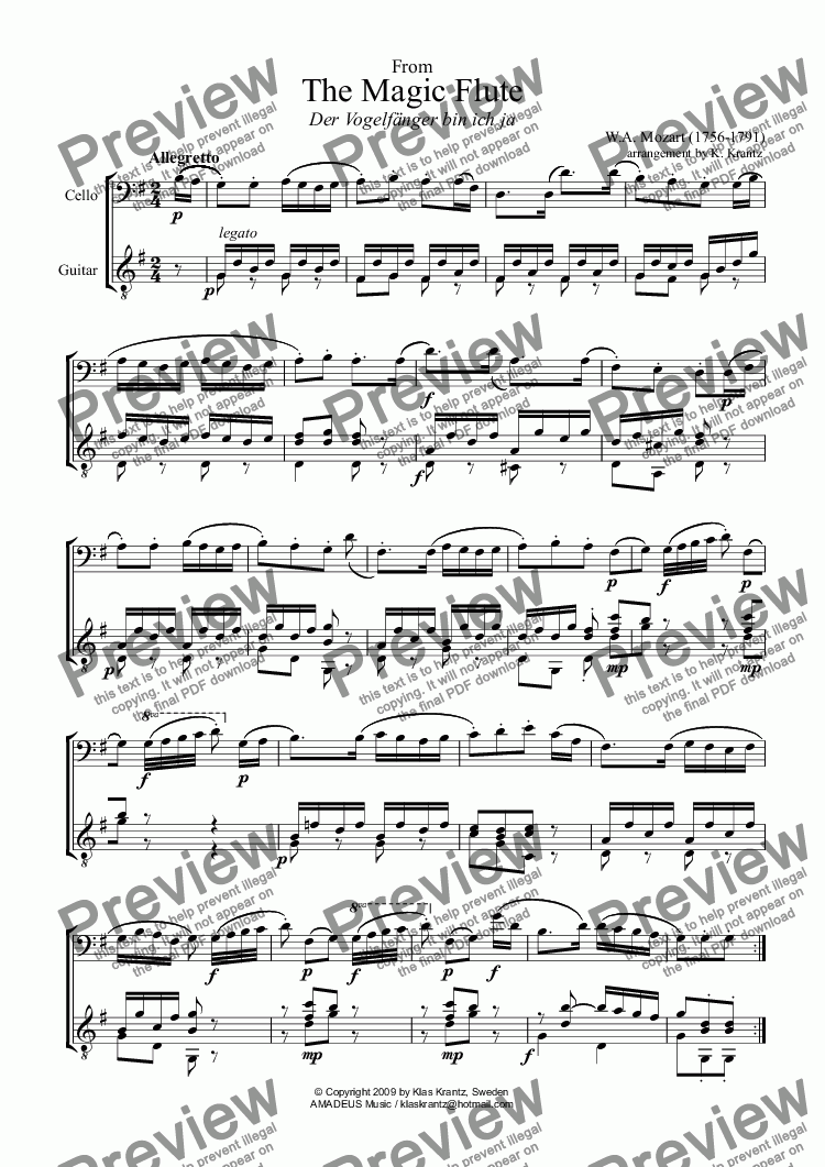 page one of Mozart for violoncello and classical guitar, 7 short pieces