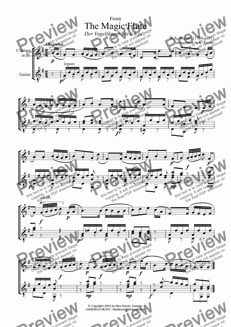 Mozart for clarinet and classical guitar, 7 short pieces for Duet by W A   Mozart - Sheet Music PDF file to download