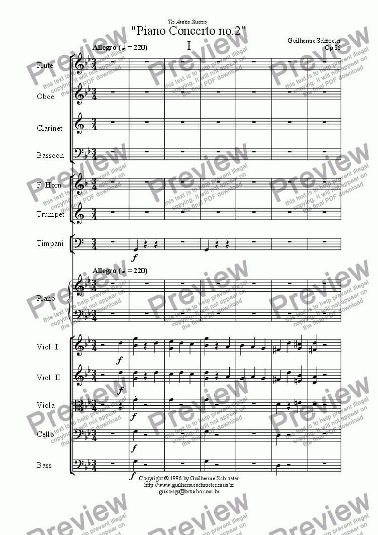 page one of Op.086  - Piano Concerto no.2 (G minor)