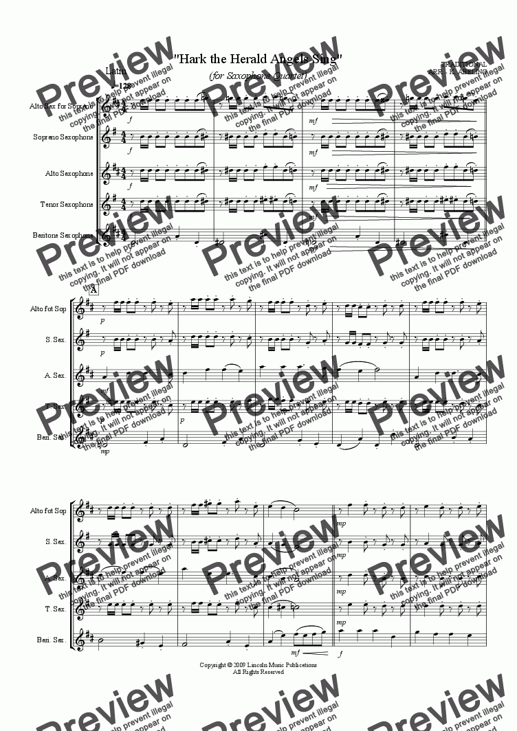 page one of Jazz Christmas Carol - Hark The Herald Angels Sing (Saxophone Quartet SATB or AATB)