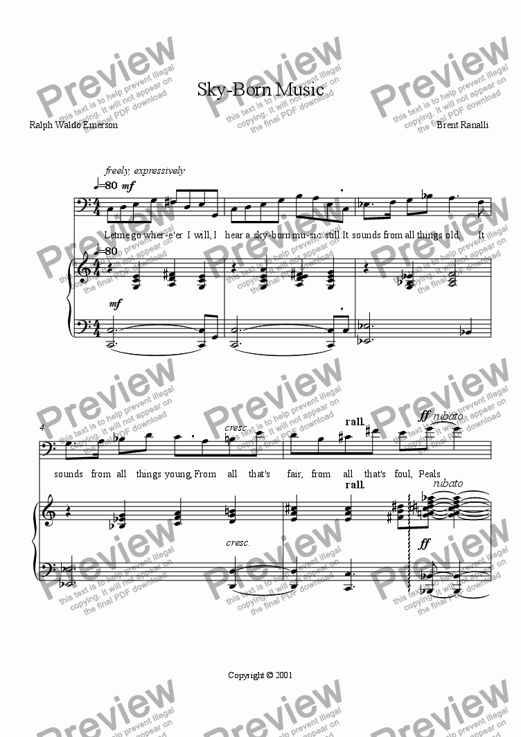 page one of Sky-Born Music -- Emerson (for baritone and piano)