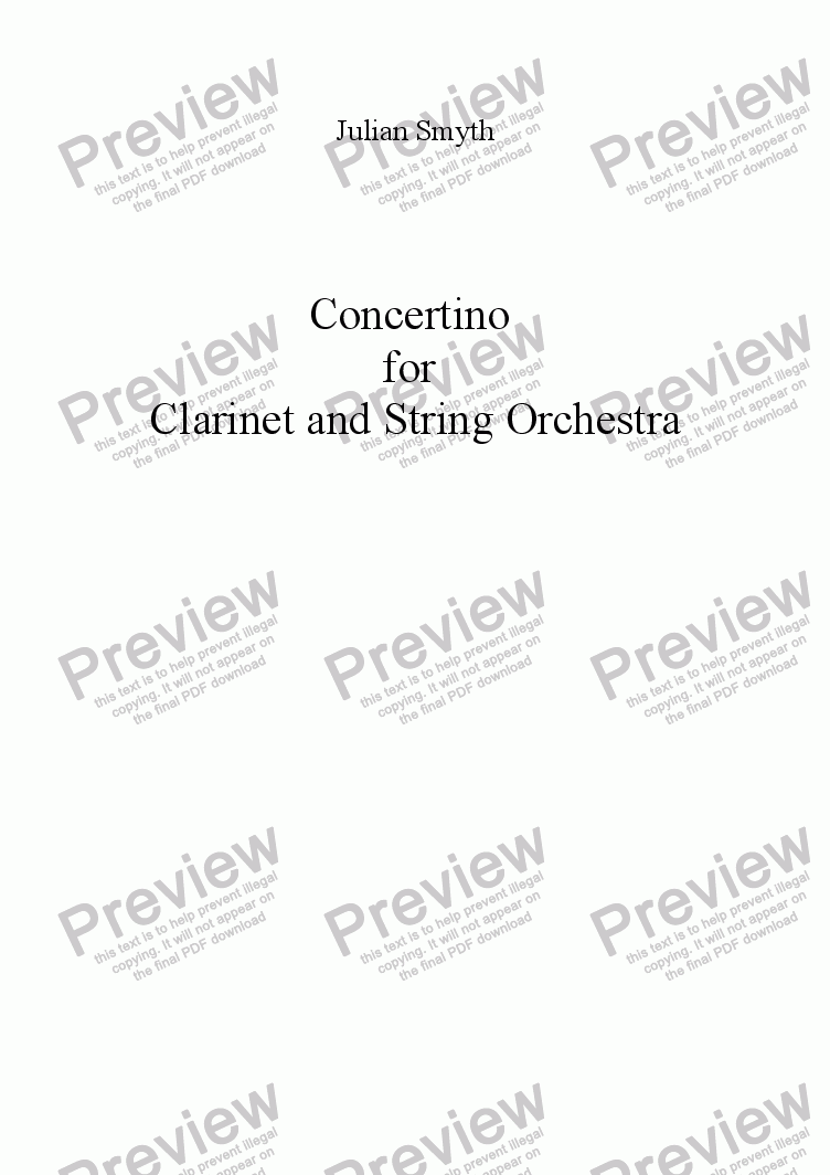 page one of Concertino for Clarinet and String Orchestra